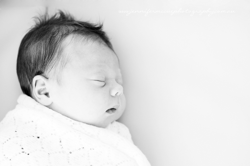 newborn girl black and white